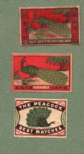 Collectible match box labels CHINA or JAPAN patriotic Peacock #138